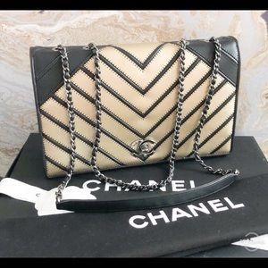 RUNWAY Chanel CC Chevron Couture Two-Tone Flap Bag